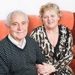 Happy senior couple sitting close together on a sofa in the house smiling — Stock Photo #43672757