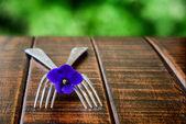 Dvě větve s květinou na dřevěný stůl — Stock fotografie