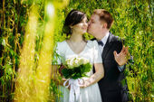 Happy wedding couple kissing in the green park — Stock Photo