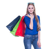 Shopping woman excited with shopping bags. Isolated on white background. — Foto de Stock