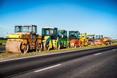 Heavy Vibration roller at asphalt pavement works. Concept photo of road works. — Stock Photo