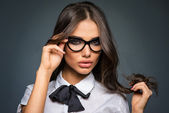 Beautiful sexy brunette young business woman wearing diopter glasses — Stock Photo