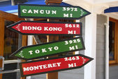 Mileage Sign Found In Kona Hawaii — Stock Photo