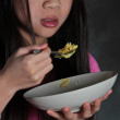 Girl eating — Stock Photo