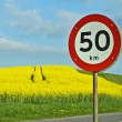 Road sign near the yellow rapse field — Stock Photo
