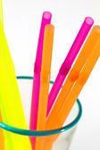Cocktail straws in glass — Stock Photo