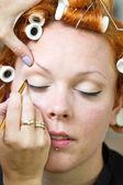 Make up artist at work — Stock Photo