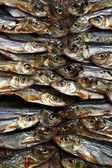 Plenty of small dried fishes on a stack — Stockfoto