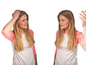 Scandinavian cute young girl irritated expressions — Stock Photo