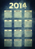 Calendar 2014 with grunge background — Стоковое фото