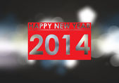 Happy new year 2014 text in blurred dark background — Foto Stock