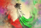 Abtract Brush Lady in Splatter Background — Stock Photo