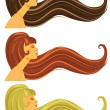 Long brown, blond and red  hair — Stock Vector