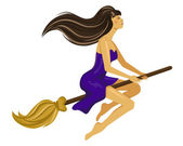 Beautiful young witch on a broomstick — Stock Vector