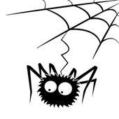 Black halloween spider with web — Stock Vector