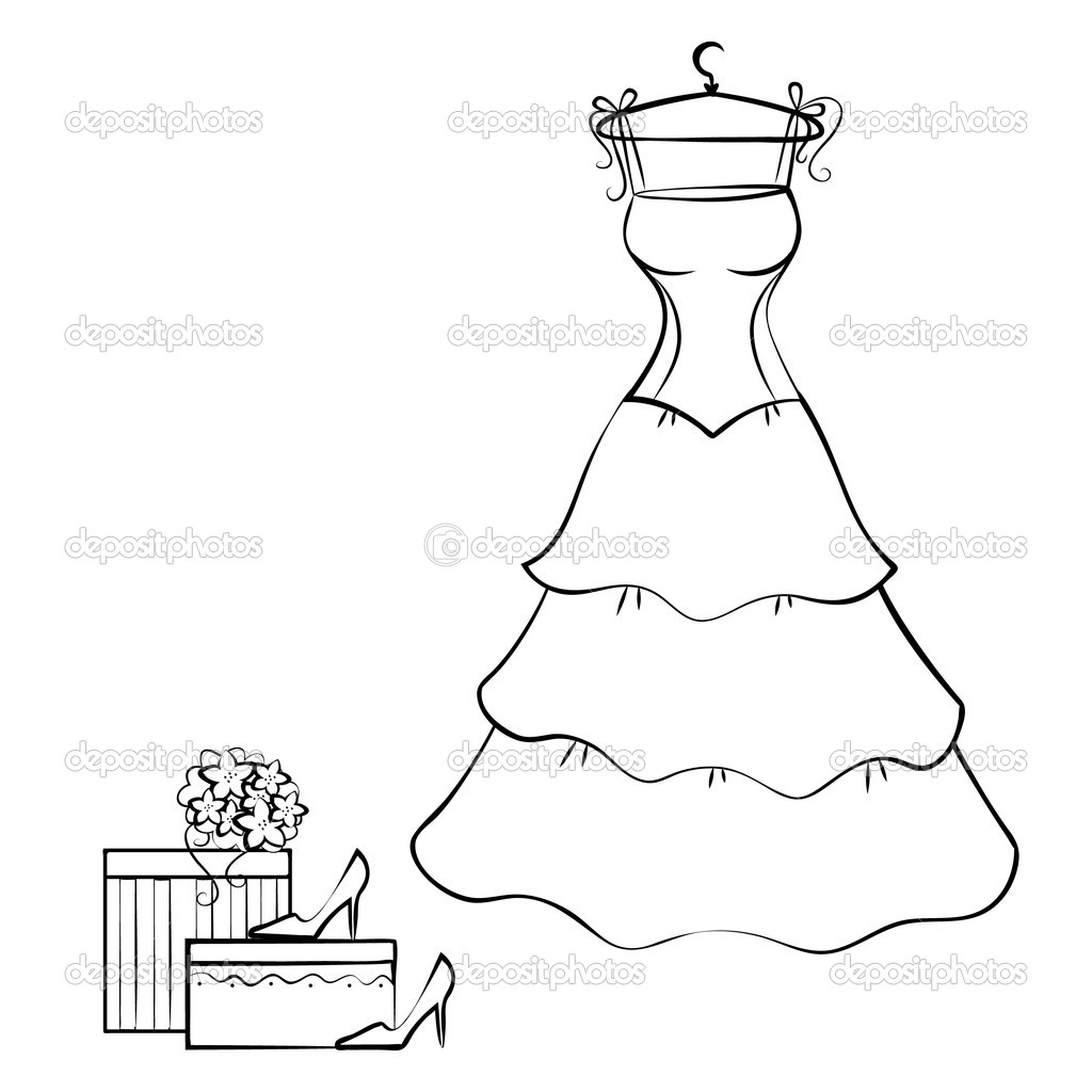 Vector wedding dress silhouette clothes rack with wedding