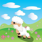 Sheep, lamb, Toon, flowers, sky, meadow — Stock Vector