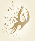 Quadro decorativo com cachos de ouro sob a forma de um pássaro — Fotografia Stock