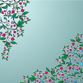 Vector ornament with green leaves and hearts — Wektor stockowy