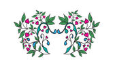 Vector ornament with green leaves and hearts — Stock Vector