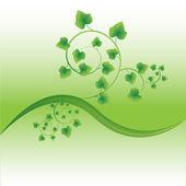 Zweig mit frischen grünen blättern — Stockvektor