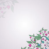 Vector ornament with green leaves and hearts — Stockvektor