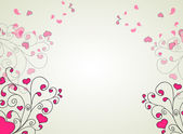 Hearts and swirls on on a light background — Vettoriale Stock