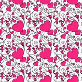 Hearts and swirls on on a light background. seamless background — Stockvektor