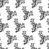 Seamless vintage pattern on a white background of black curls — Vecteur