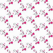 Hearts and swirls on on a light background. seamless background — Vecteur