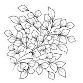 Black and white branches with leaves on isolated background — Stock Vector