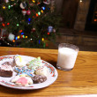 Christmas Cookies and Milk Fireplace Tree Christmas Cookies and Milk Fireplace Tree — Stock Photo #16759851
