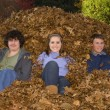 Raking Leaves Three Teens Sitting in Leaf Pile — Stock Photo