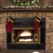 Christmas Fireplace Hearth with Cookies and Milk for Santa — Stock Photo