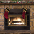 Christmas Fireplace Hearth and Stockings Landscape — ストック写真