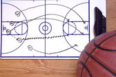 Basketball Fast Break Diagram and Ball — Stockfoto