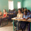 Visit French schoolboys in Burkina Faso — Stock Photo