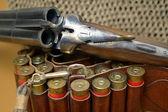Shotgun and its cartridges — Stock Photo