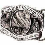 Buckle of belt gold rush — Stock Photo