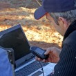 Stock Photo: Preparation of day of exploration in Australidesert by GPS
