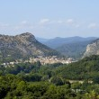Anduze, French city of the Cevennes seen of the castle of Tornac — Stock Photo #20093681