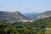 Anduze, French city of the Cevennes seen of the castle of Tornac — Stock Photo