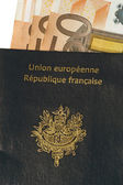 European passport and ticket in euro — Stock Photo