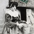 Stock Photo: Old postcard of French country-wombourbonnaise energy to seek water