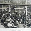 Stock Photo: Old postcard of French manufacture of weapons and cycles of Saint-Etienne