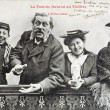 Old postcard of family Durand to theatre, enthusiasm — Stock Photo #21728401