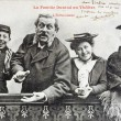 Stock Photo: Old postcard of family Durand to theatre, enthusiasm