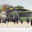 Stock Photo: Old postcard of Paris, station of subway with Bastille