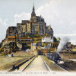 Old postcard of the Mount-Saint-Michel — Stock Photo