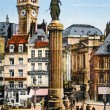 Stock Photo: Old postcard of Lille, column commemorative of head office of Lille